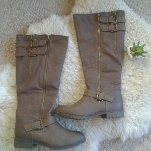 Madden Girl Brown Chered Wide Calf Boots